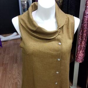 Misslook shirt dress asymetrical collar sleeveless